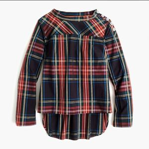 NEW J. Crew plaid shirt with jeweled buttons